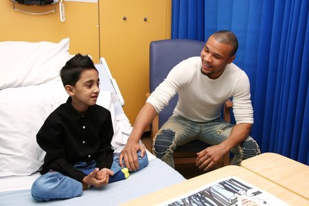 Chris Eubank Jr with heart patient Abuzar from Pakistan
